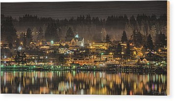 Poulsbo Waterfront 5 Wood Print by Wally Hampton