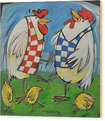 Poultry In Motion Wood Print by Tim Nyberg