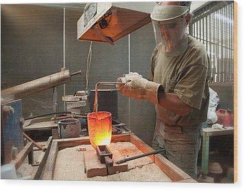 Pouring A 90oz Gold Bar-3 Wood Print