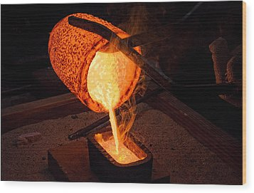 Pouring A 90oz Gold Bar Wood Print