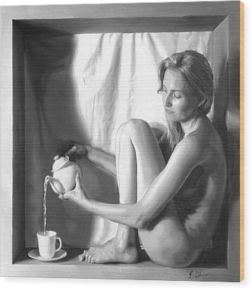 Pouring Tea Wood Print by E Gibbons