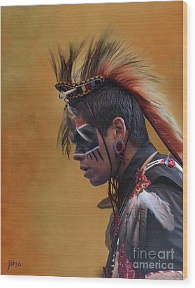 Wood Print featuring the mixed media Pow Wow by Jim  Hatch