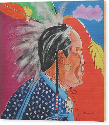 Pow Wow Wood Print by Mordecai Colodner