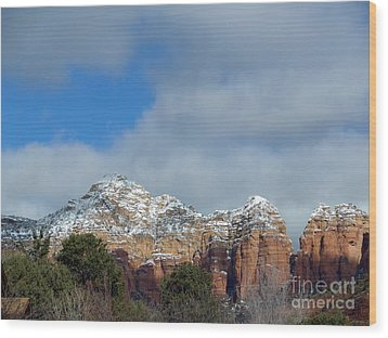 Powdered Sugar Sedona Red Rocks Wood Print