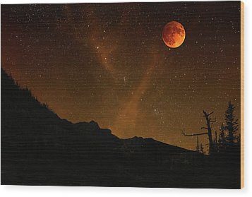 Power Blood Moon Wood Print