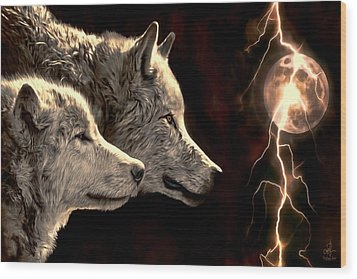 Power Of The Moon Wood Print by Pennie  McCracken