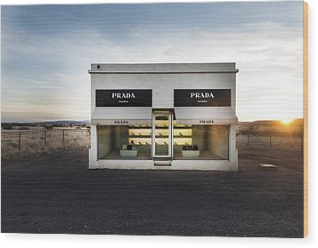 Prada Marfa Is A Permanently Installed Sculpture By Elmgreen And Dragset Near The Town Of Valentine Wood Print by Carol M Highsmith