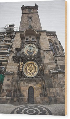Prague Astronomical Clock Wood Print by Andre Goncalves