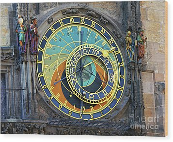 Prague Astronomical Clock Wood Print by Mariola Bitner