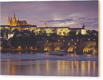 Prague Castle And Charles Bridge Wood Print by Andre Goncalves
