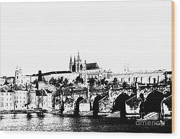 Prague Castle And Charles Bridge Wood Print by Michal Boubin