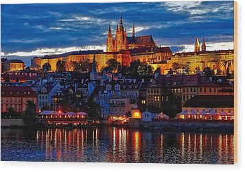 Prague Castle In The Evening Wood Print