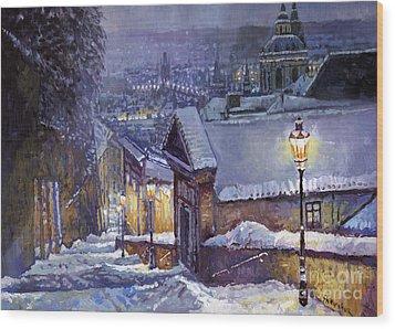 Prague Castle Steps Winter   Wood Print by Yuriy Shevchuk