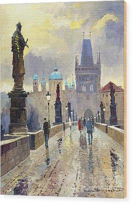 Prague Charles Bridge 02 Wood Print by Yuriy  Shevchuk
