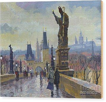Prague Charles Bridge 04 Wood Print by Yuriy  Shevchuk