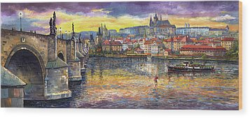 Prague Charles Bridge And Prague Castle With The Vltava River 1 Wood Print by Yuriy  Shevchuk