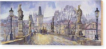 Prague Charles Bridge Mala Strana  Wood Print by Yuriy  Shevchuk