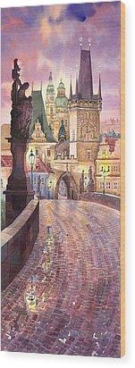 Prague Charles Bridge Night Light 1 Wood Print by Yuriy  Shevchuk