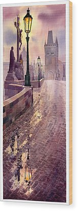 Prague Charles Bridge Night Light Wood Print by Yuriy  Shevchuk