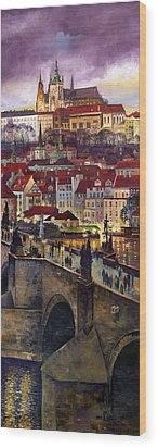 Prague Charles Bridge With The Prague Castle Wood Print by Yuriy  Shevchuk