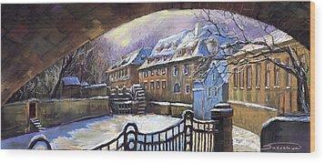 Prague Chertovka Winter 01 Wood Print by Yuriy  Shevchuk