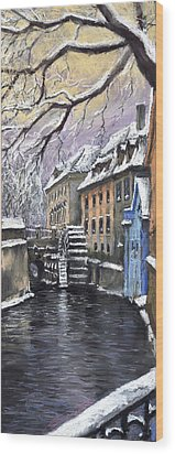 Prague Chertovka Winter Wood Print by Yuriy  Shevchuk