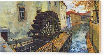 Prague Chertovka Wood Print by Yuriy  Shevchuk