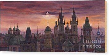 Prague City Of Hundres Spiers Wood Print by Yuriy  Shevchuk