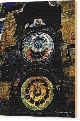 Prague Clock Wood Print by Joan  Minchak