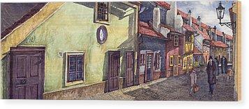 Prague Golden Line Street Wood Print by Yuriy  Shevchuk