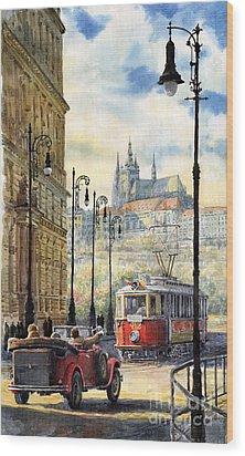 Prague Kaprova Street Wood Print by Yuriy  Shevchuk