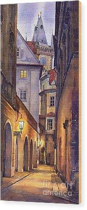 Prague Old Street  Wood Print