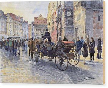 Prague Old Town Hall And Astronomical Clock Wood Print by Yuriy  Shevchuk
