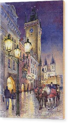 Prague Old Town Square 3 Wood Print by Yuriy  Shevchuk