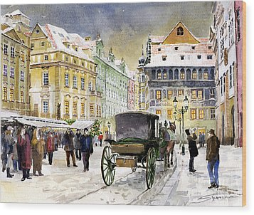 Prague Old Town Square Winter Wood Print by Yuriy  Shevchuk