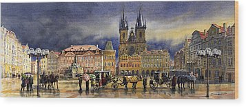Prague Old Town Squere After Rain Wood Print by Yuriy  Shevchuk