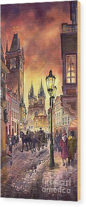 Prague Old Town Squere Wood Print by Yuriy  Shevchuk