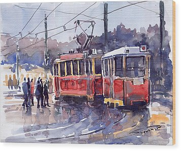 Prague Old Tram 01 Wood Print by Yuriy  Shevchuk