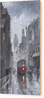 Prague Old Tram 03 Wood Print by Yuriy  Shevchuk