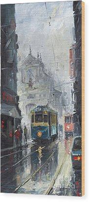 Prague Old Tram 04 Wood Print by Yuriy  Shevchuk