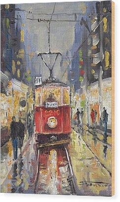 Prague Old Tram 08 Wood Print by Yuriy  Shevchuk