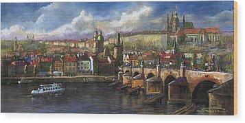 Prague Panorama Charles Bridge Prague Castle Wood Print by Yuriy  Shevchuk