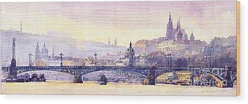 Prague Panorama Chehuv Bridge Wood Print by Yuriy  Shevchuk