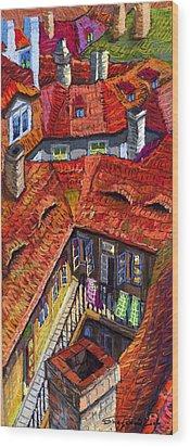 Prague Roofs 01 Wood Print by Yuriy  Shevchuk