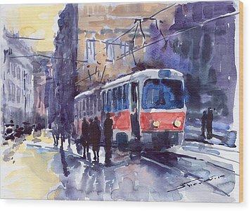 Prague Tram 02 Wood Print by Yuriy  Shevchuk