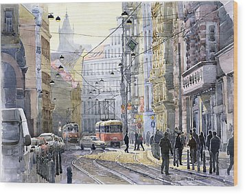 Prague Vodickova Str Wood Print by Yuriy  Shevchuk