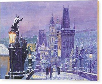 Prague Winter Charles Bridge Wood Print by Yuriy Shevchuk
