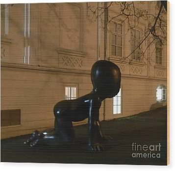 Prague's Faceless Baby Statue Wood Print by Margaret Brooks