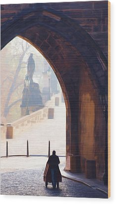 Praha Push Cart Artist Wood Print by Shawn Wallwork