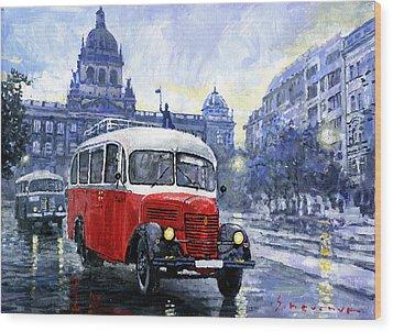Praha Rnd Bus 1950 Skoda 706 Ro Wood Print by Yuriy Shevchuk